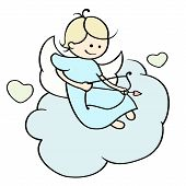 foto of cupid  - Cute cartoon happy cupid flying on cloud - JPG