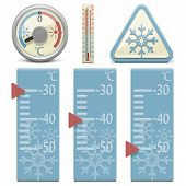 pic of freezing temperatures  - Different thermometers - JPG