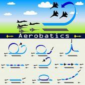 picture of aerobatics  - Aerobatics airplane on blue sky background vector illustration - JPG