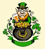 stock photo of pot gold  - Leprechaun with pot of gold and holding a beer - JPG