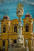 Постер, плакат: Old Postcard With German Dome And Holy Trinity Statue Timisoara Romania