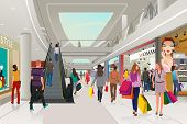 picture of mall  - A vector illustration of people shopping in a mall - JPG