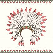 foto of headdress  - Hand drawn native american indian chief headdress vector illustration - JPG