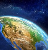 image of outer  - Very high definition picture of planet earth in outer space - JPG
