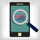 stock photo of reboot  - Magnifying glass showing boot message on smartphone - JPG
