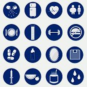 pic of monochromatic  - Monochromatic an circular icons with gradient representing equipment food and habits related to health - JPG