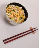 foto of rice noodles  - Vietnamese vermicelli chicken and rice noodles soup pho on a white background - JPG