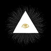 stock photo of freemason  - All Seeing Eye on Black - JPG