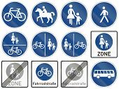 stock photo of bike path  - Collection of road signs for bike and foot path or bridleway and bus lane - JPG