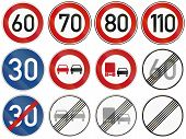 stock photo of restriction  - Collection of common German restriction signs found on federal and other roads - JPG