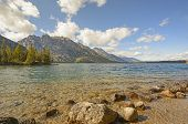 stock photo of early morning  - Jenny Lake in the Grand Tetons in Early Morning in Wyoming - JPG