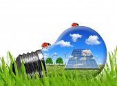 picture of wind energy  - Solar panels and wind turbines in light bulb - JPG
