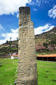 picture of obelisk  - Tello Obelisk at the UNESCO World Heritage site of Chavin de Huantar in Peru - JPG