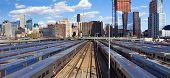 foto of railroad yard  - New Yok City skyline from the High Line with view of Hudson Yards trains - JPG
