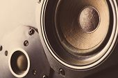 stock photo of membrane  - Detail shot of some old round speakers - JPG