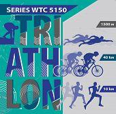 foto of triathlon  - Vector illustration triathlon - JPG