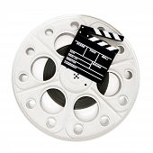 stock photo of mm  - Movie clapper on 35 mm cinema film reel isolated on white background square frame - JPG