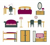 image of bunk-bed  - set of vector icons with furniture for apartment flat design - JPG