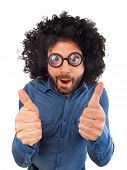 picture of wig  - Funny man with the wig showing thumbs up sign on white background - JPG
