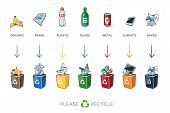 Постер, плакат: 7 Segregation Recycling Bins With Trash