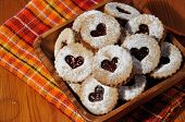 stock photo of linzer  - linzer cookies heart shaped with marmelade on a plate - JPG