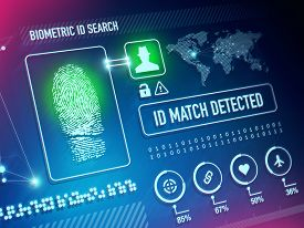 stock photo of virus scan  - Biometrics Scan Security Technology and ID Verification Concept - JPG