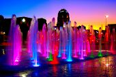 Fountain lights at night