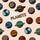 Постер, плакат: hand drawn planet pattern with mercury venus earth mars jupiter saturn uranus neptune plut