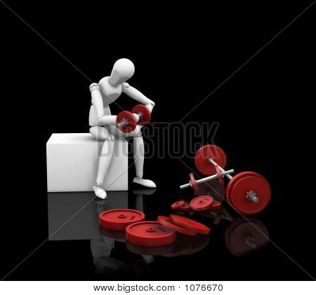 Picture or Photo of 3d render of a man weight lifting on black background
