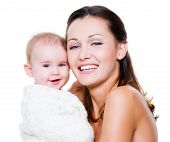 picture of baby face  - Portrait of a beautiful happy mother with smiling baby isolated on white - JPG