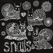������, ������: Set of hand painted snails and flowers Original cute snail funny faces Shell horns Hipster sna