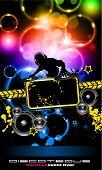 Música discoteque Flyer com cores do arco-íris atraente