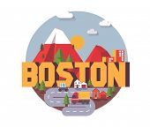 Boston, great destination to visit, vector cartoon poster