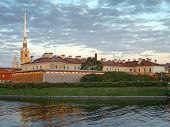 Saint-Petersburg. The Peter And Paul Fortress At Dusk.