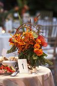 Wedding Table With Bouquet Of Flowers