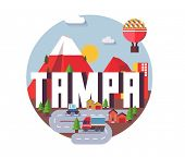 Tampa city travel destination in USA. vector cartoon, poster