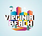 Virginia beach destination brand logo. vector cartoon poster