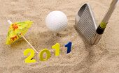 image of miniature golf  - Little sandy beach in the studio in a new years scene against a white background - JPG