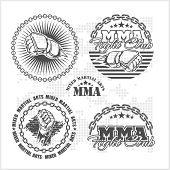 ������, ������: MMA mixed martial arts emblem badges vector set