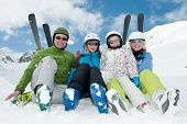 stock photo of family ski vacation  - Happy family - JPG