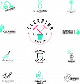 Vector collection of flat logo for cleaning company. poster