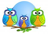 pic of full_moon  - A vector illustration showing a cute owl family sitting on a tree brench in front of a full blue moon - JPG