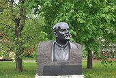 A memorial bust of Lenin