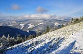 Winter stone hillside