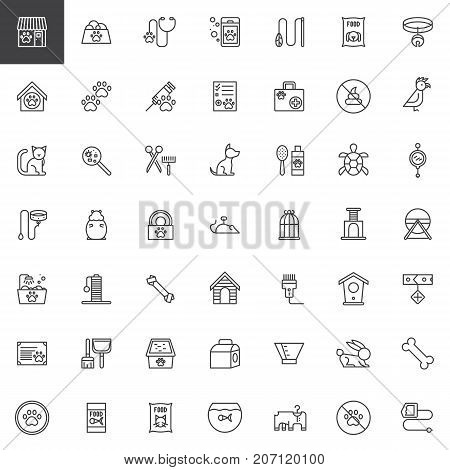 poster of Pet shop accessories line icons set, outline vector symbol collection, linear style pictogram pack. Signs, logo illustration. Set includes icons as toy, animal, dog, aquarium, cat, hamster, veterinary