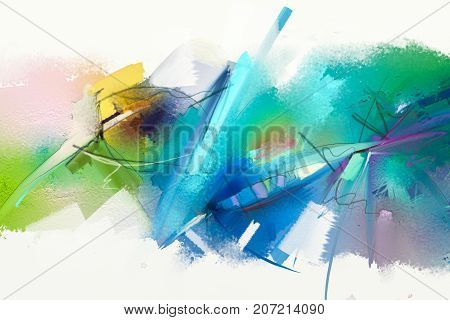 poster of Abstract colorful oil painting on canvas texture. Hand drawn brush stroke oil color paintings background. Modern art oil paintings with green blue color. Abstract contemporary art for background