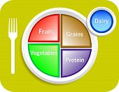 image of food pyramid  - Vector illustration of new my plate replaces food pyramid - JPG