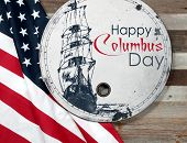 Happy Columbus Day. United States Flag. poster