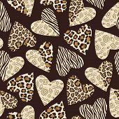 picture of ocelot  - Seamless background with hearts with animal skin pattern - JPG