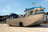 picture of amphibious  - big amphibious boat on beach in summer - JPG